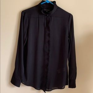 NWT Banana Republic Ruffled Collar Blouse, Black S